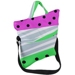 Dots And Lines, Mixed Shapes Pattern, Colorful Abstract Design Fold Over Handle Tote Bag by Casemiro