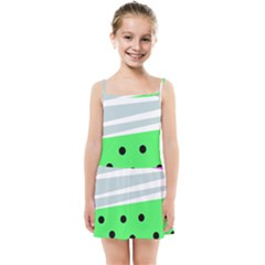 Dots And Lines, Mixed Shapes Pattern, Colorful Abstract Design Kids  Summer Sun Dress by Casemiro