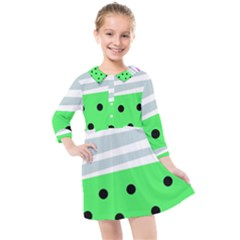 Dots And Lines, Mixed Shapes Pattern, Colorful Abstract Design Kids  Quarter Sleeve Shirt Dress by Casemiro
