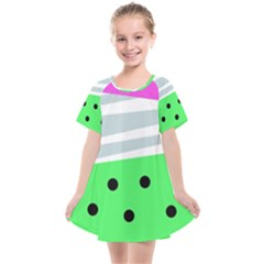 Dots And Lines, Mixed Shapes Pattern, Colorful Abstract Design Kids  Smock Dress by Casemiro
