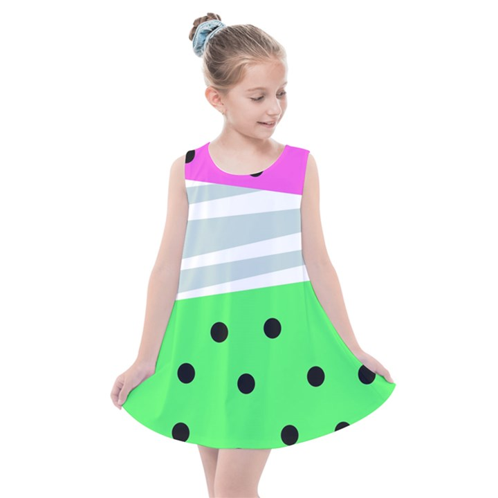 Dots and lines, mixed shapes pattern, colorful abstract design Kids  Summer Dress
