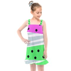 Dots And Lines, Mixed Shapes Pattern, Colorful Abstract Design Kids  Overall Dress by Casemiro