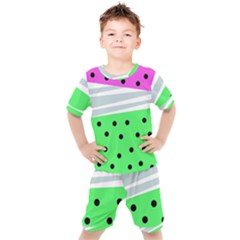 Dots And Lines, Mixed Shapes Pattern, Colorful Abstract Design Kids  Tee And Shorts Set by Casemiro