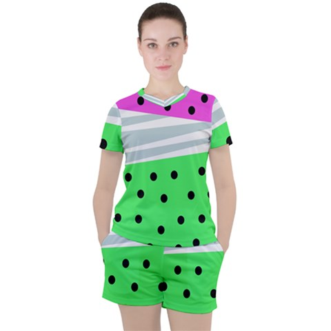 Dots And Lines, Mixed Shapes Pattern, Colorful Abstract Design Women s Tee And Shorts Set by Casemiro