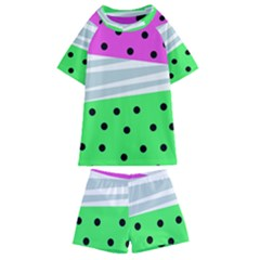 Dots And Lines, Mixed Shapes Pattern, Colorful Abstract Design Kids  Swim Tee And Shorts Set by Casemiro