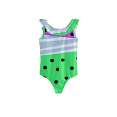 Dots And Lines, Mixed Shapes Pattern, Colorful Abstract Design Kids  Frill Swimsuit