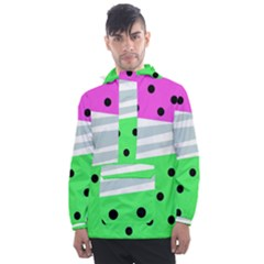 Dots And Lines, Mixed Shapes Pattern, Colorful Abstract Design Men s Front Pocket Pullover Windbreaker by Casemiro