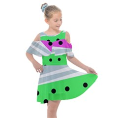 Dots And Lines, Mixed Shapes Pattern, Colorful Abstract Design Kids  Shoulder Cutout Chiffon Dress by Casemiro