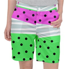 Dots And Lines, Mixed Shapes Pattern, Colorful Abstract Design Pocket Shorts by Casemiro