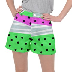 Dots And Lines, Mixed Shapes Pattern, Colorful Abstract Design Ripstop Shorts by Casemiro