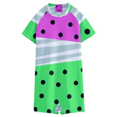 Dots And Lines, Mixed Shapes Pattern, Colorful Abstract Design Kids  Boyleg Half Suit Swimwear