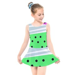 Dots And Lines, Mixed Shapes Pattern, Colorful Abstract Design Kids  Skater Dress Swimsuit by Casemiro
