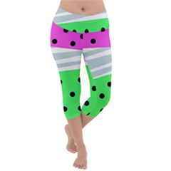 Dots And Lines, Mixed Shapes Pattern, Colorful Abstract Design Lightweight Velour Capri Yoga Leggings by Casemiro