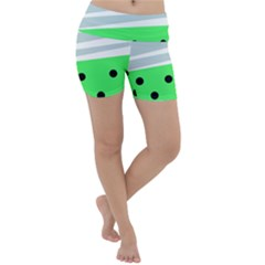 Dots And Lines, Mixed Shapes Pattern, Colorful Abstract Design Lightweight Velour Yoga Shorts by Casemiro