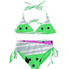 Dots And Lines, Mixed Shapes Pattern, Colorful Abstract Design Kids  Classic Bikini Set by Casemiro