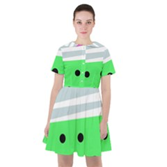 Dots And Lines, Mixed Shapes Pattern, Colorful Abstract Design Sailor Dress by Casemiro
