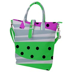 Dots And Lines, Mixed Shapes Pattern, Colorful Abstract Design Buckle Top Tote Bag by Casemiro