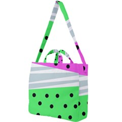 Dots And Lines, Mixed Shapes Pattern, Colorful Abstract Design Square Shoulder Tote Bag by Casemiro