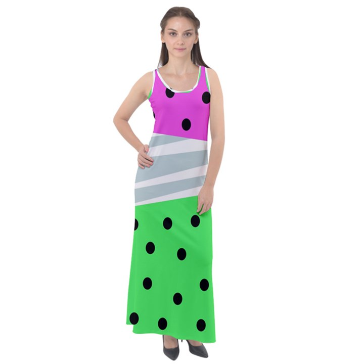 Dots and lines, mixed shapes pattern, colorful abstract design Sleeveless Velour Maxi Dress
