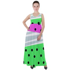 Dots And Lines, Mixed Shapes Pattern, Colorful Abstract Design Empire Waist Velour Maxi Dress by Casemiro