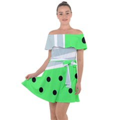 Dots And Lines, Mixed Shapes Pattern, Colorful Abstract Design Off Shoulder Velour Dress