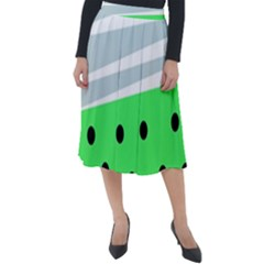 Dots And Lines, Mixed Shapes Pattern, Colorful Abstract Design Classic Velour Midi Skirt  by Casemiro