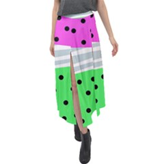 Dots And Lines, Mixed Shapes Pattern, Colorful Abstract Design Velour Split Maxi Skirt by Casemiro