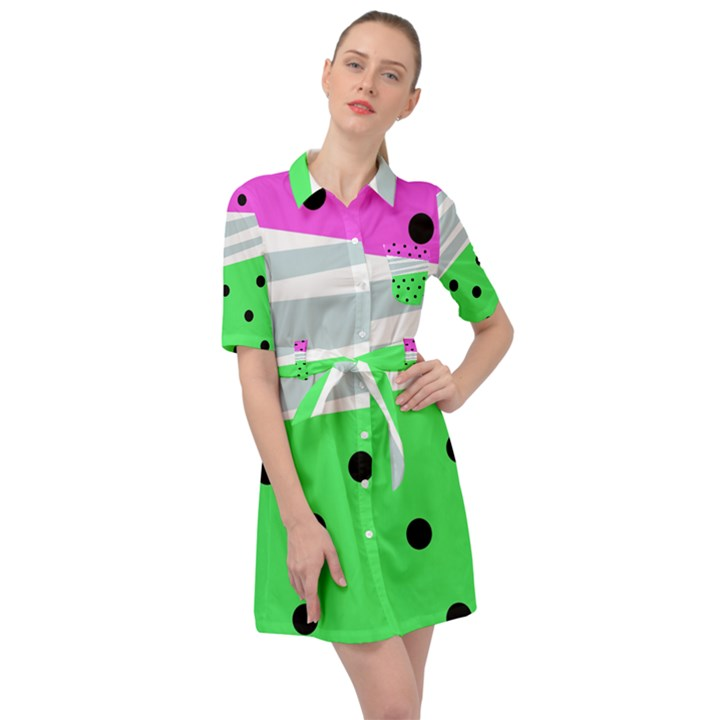 Dots and lines, mixed shapes pattern, colorful abstract design Belted Shirt Dress
