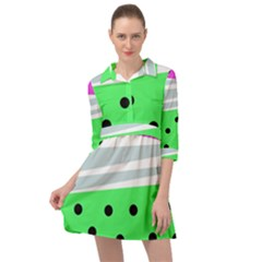 Dots And Lines, Mixed Shapes Pattern, Colorful Abstract Design Mini Skater Shirt Dress by Casemiro