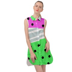 Dots And Lines, Mixed Shapes Pattern, Colorful Abstract Design Sleeveless Shirt Dress by Casemiro