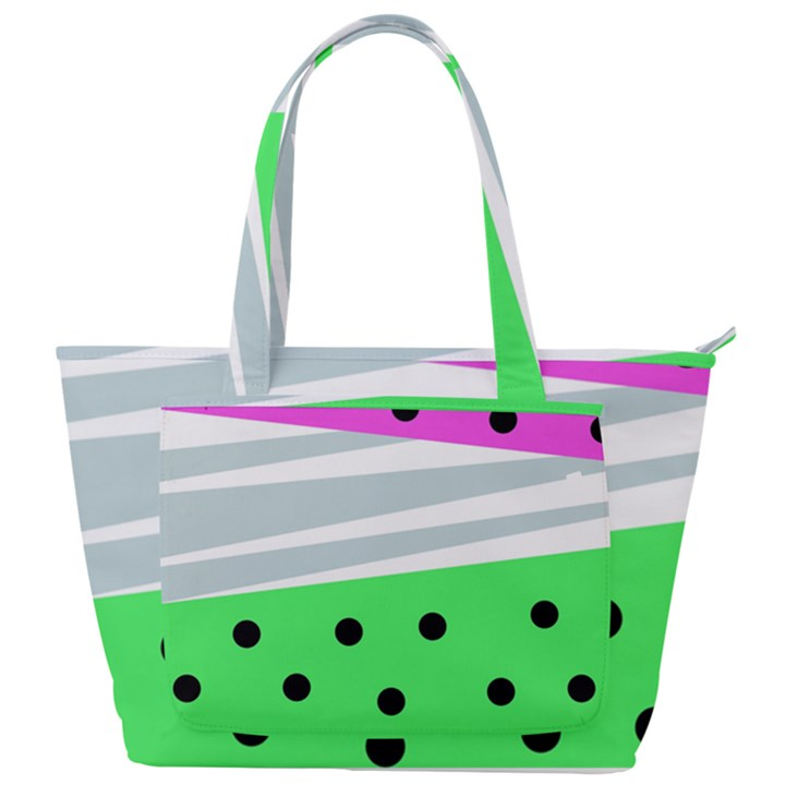 Dots and lines, mixed shapes pattern, colorful abstract design Back Pocket Shoulder Bag