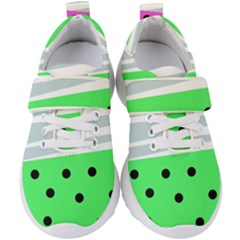Dots And Lines, Mixed Shapes Pattern, Colorful Abstract Design Kids  Velcro Strap Shoes by Casemiro