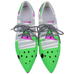 Dots And Lines, Mixed Shapes Pattern, Colorful Abstract Design Pointed Oxford Shoes by Casemiro