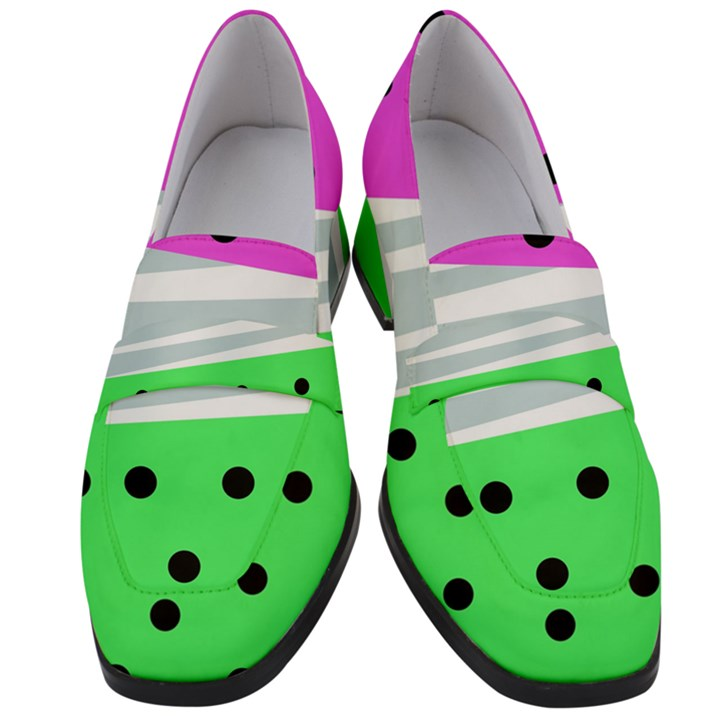 Dots and lines, mixed shapes pattern, colorful abstract design Women s Chunky Heel Loafers