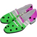 Dots and lines, mixed shapes pattern, colorful abstract design Women s Chunky Heel Loafers View2