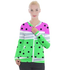 Dots And Lines, Mixed Shapes Pattern, Colorful Abstract Design Casual Zip Up Jacket by Casemiro