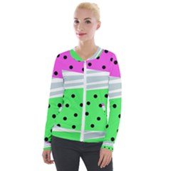 Dots And Lines, Mixed Shapes Pattern, Colorful Abstract Design Velour Zip Up Jacket by Casemiro