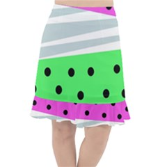 Dots And Lines, Mixed Shapes Pattern, Colorful Abstract Design Fishtail Chiffon Skirt by Casemiro