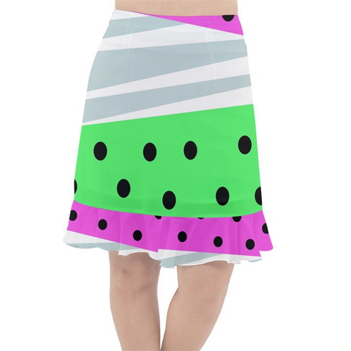 Dots and lines, mixed shapes pattern, colorful abstract design Fishtail Chiffon Skirt