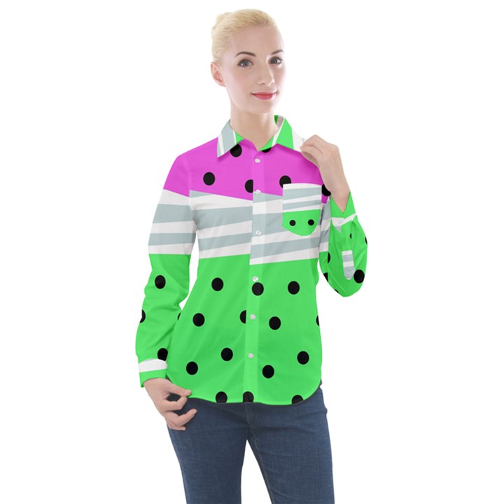 Dots and lines, mixed shapes pattern, colorful abstract design Women s Long Sleeve Pocket Shirt