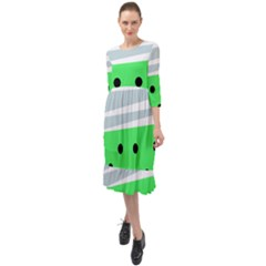 Dots And Lines, Mixed Shapes Pattern, Colorful Abstract Design Ruffle End Midi Chiffon Dress by Casemiro