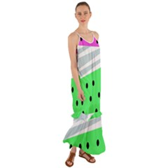 Dots And Lines, Mixed Shapes Pattern, Colorful Abstract Design Cami Maxi Ruffle Chiffon Dress by Casemiro