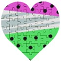 Dots and lines, mixed shapes pattern, colorful abstract design Wooden Puzzle Heart View1