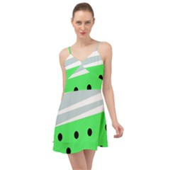 Dots And Lines, Mixed Shapes Pattern, Colorful Abstract Design Summer Time Chiffon Dress by Casemiro