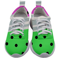 Dots And Lines, Mixed Shapes Pattern, Colorful Abstract Design Kids Athletic Shoes by Casemiro