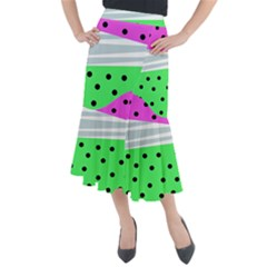 Dots And Lines, Mixed Shapes Pattern, Colorful Abstract Design Midi Mermaid Skirt by Casemiro