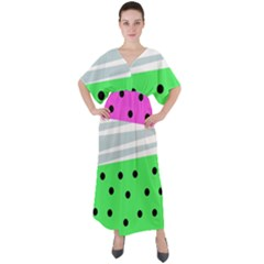 Dots And Lines, Mixed Shapes Pattern, Colorful Abstract Design V-neck Boho Style Maxi Dress
