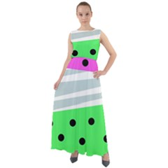 Dots And Lines, Mixed Shapes Pattern, Colorful Abstract Design Chiffon Mesh Boho Maxi Dress by Casemiro
