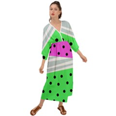 Dots And Lines, Mixed Shapes Pattern, Colorful Abstract Design Grecian Style  Maxi Dress by Casemiro