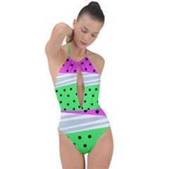 Dots And Lines, Mixed Shapes Pattern, Colorful Abstract Design Plunge Cut Halter Swimsuit by Casemiro